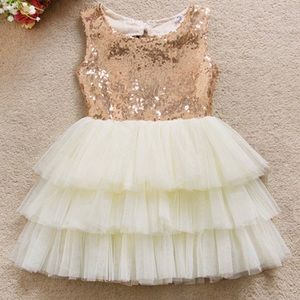 Other - 💖New! Ivory Champagne Gold Sequin Bow Tutu Dress